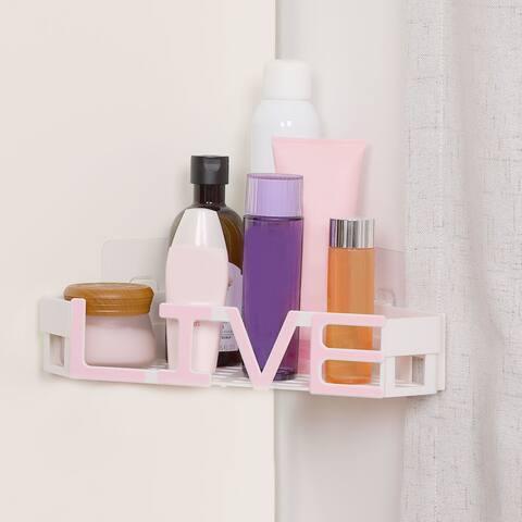 Plastic Suction Wall Corner Rack Bin Water Resistant Live Word Shape