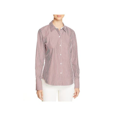 Lafayette 148 New York Womens Button-Down Top Striped Cuffed