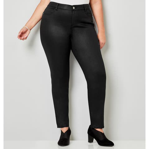 AVENUE Women's Coated Black Skinny Jeans