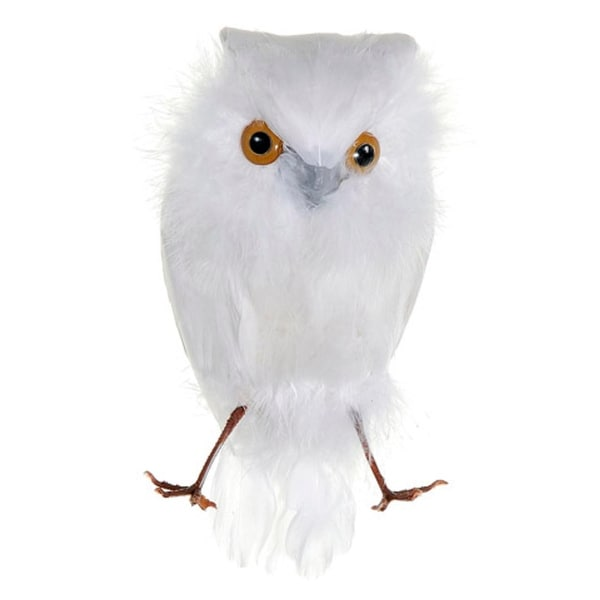 "6.5"" White Feathered Decorative Snow Owl Bird Figure"