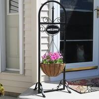 Sunnydaze Decorative Welcome Sign and Hanging Basket Planter Stand - 48-Inch