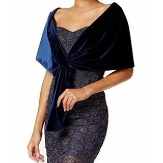 SLNY S.L. Fashions Blue Navy One Size Velvet Loop Through Shawl