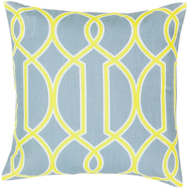 "18"" Heather Gray and Lime Green Trellis Decorative Throw Pillow"