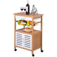 Gymax Bamboo Rolling Kitchen Trolley Cart Island Storage Cabinet w/Drawer&Basket New