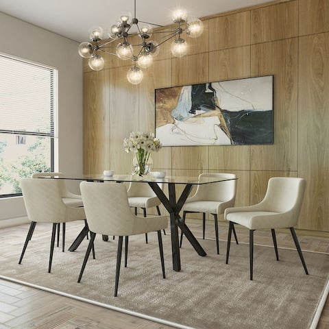 Contemporary 7pc Dining Set with Black Table & Black & Beige Chair