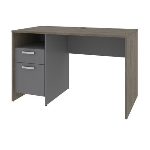 Bestar Solay 48W Small Computer Desk in deep grey & white