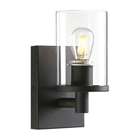1 light industrial black vanity wall sconce with clear glass shade
