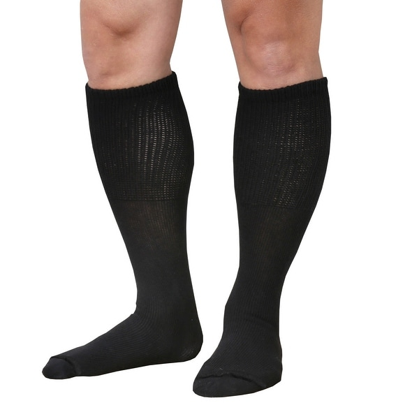 "Unisex Extra Wide Diabetic Tube Socks - 3 Pairs Fit Up To 4E/6E Foot & 22"" Calf - Medium"