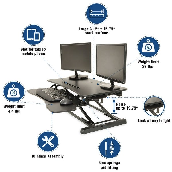 Height Adjustable Standing Desk Monitor Riser Gas Spring Tabletop Sit to Stand Workstation. Opens flyout.
