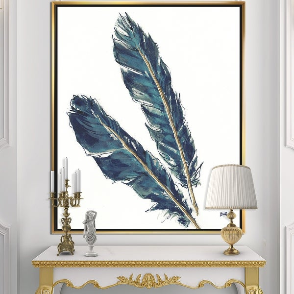 Designart 'Gold Indigo Feathers III' Modern Bohemian Framed Canvas - Grey