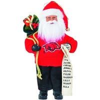 "9"" NCAA Arkansas Razorbacks Santa Claus with Good List Christmas Ornament"