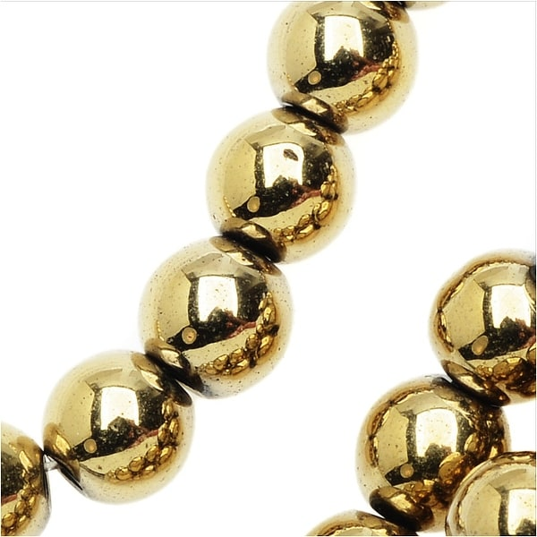 Hematite Gemstone Beads, 6mm Round, 16 Inch Strand, Metallic Gold