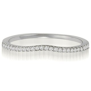 0.15 CT.TW Curved Petite Round Cut Diamond Wedding Ring - White H-I