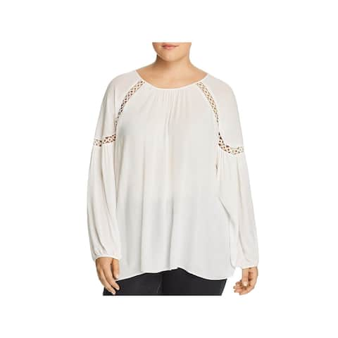 Love Scarlett Womens Plus Pullover Top Woven Eyelet