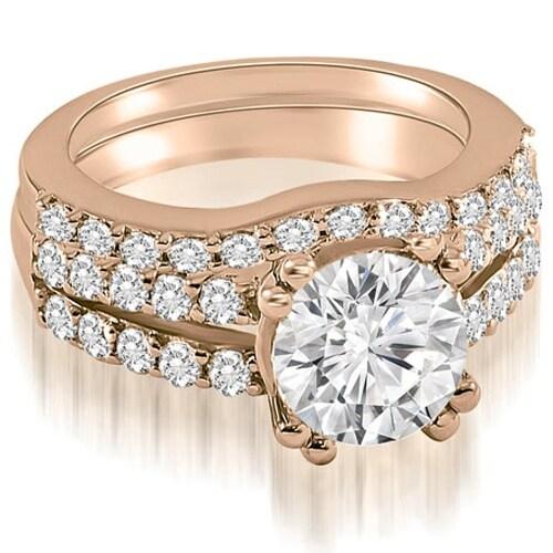 1.30 cttw. 14K Rose Gold Cathedral Split Shank Round Cut Diamond Bridal Set