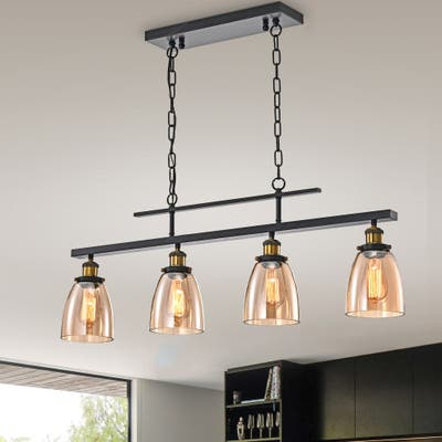 Antique Black 4-Light Linear Kitchen Island Lighting with Amber Glass Shades