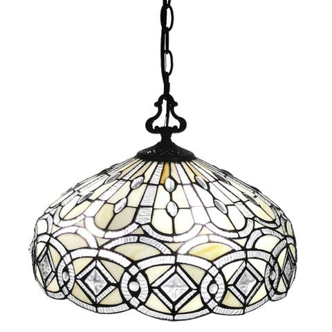 Amora Lighting AM295HL16 Tiffany Style White Hanging Lamp