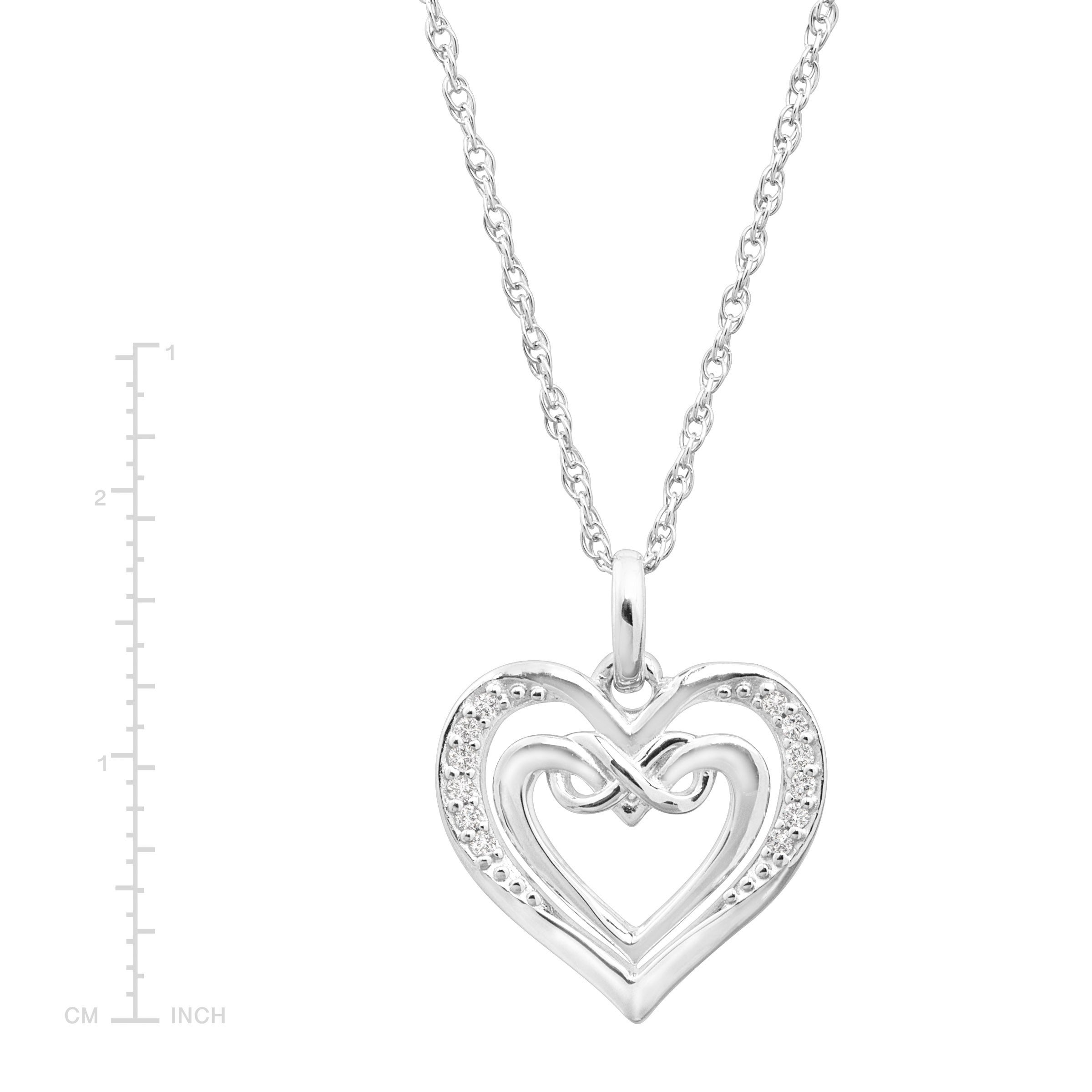 Sterling Silver Designer Heart Pendant Simulated Diamond Free 18 Necklace Love Set