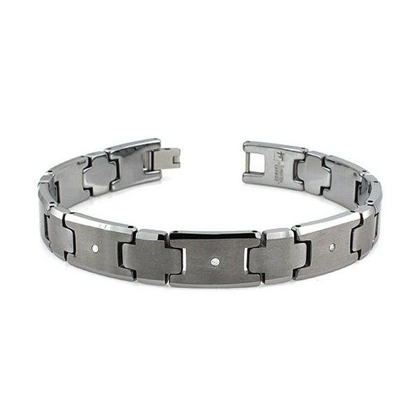 Tungsten 0.03ctw Diamond Bracelet - 8 inches