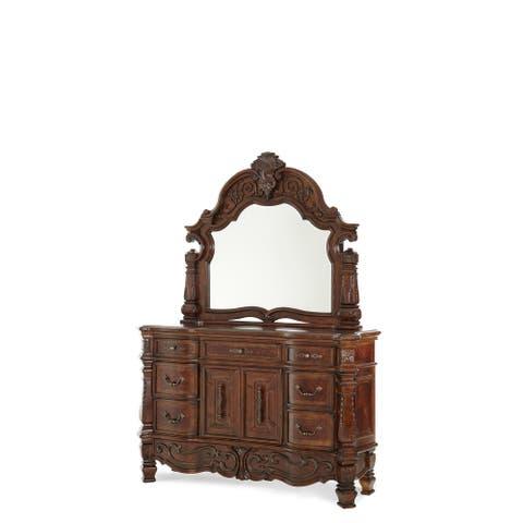 AICO Windsor Court Vintage Fruitwood Dresser with Mirror
