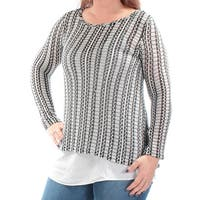 Womens Black Long Sleeve Jewel Neck Top  Size  S