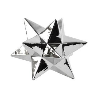 12 Point Stellated Sculpture In Ceramic, Large, Silver