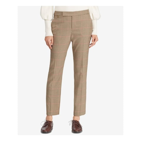 RALPH LAUREN Womens Brown Check Wear to Work Pants Size 16