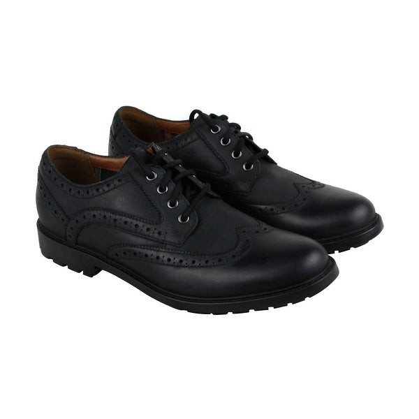 Clarks Curington Wing Mens Black Leather Casual Dress Lace Up Oxfords Shoes