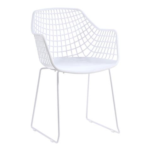 Aurelle Home Modern Perforated Back Outdoor Patio Chair (Set of 2)