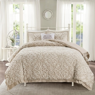 Link to Madison Park Sarah White Tufted Comforter 4 Piece Set Similar Items in Comforter Sets
