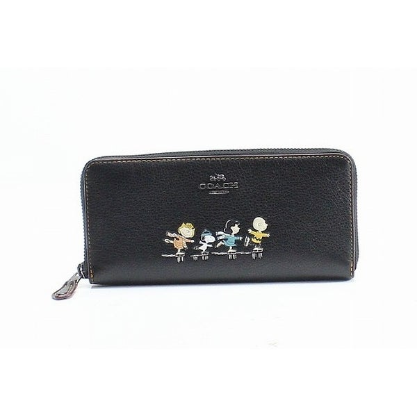 80e15ce54a Coach Black Pebble Leather Slim Accordion Zip Around Peanuts Wallet
