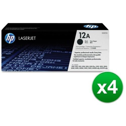 HP 12A Black Original LaserJet Toner Cartridge Government (Q2612A)(4-Pack)