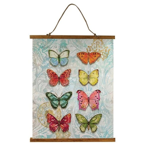 """36"""" Multicolored Butterfly Printed Rectangular Wallhanging with Top - N/A"""
