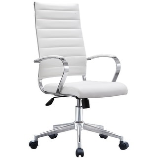 2xhome - Modern High Back Tall Ribbed Office PU Leather Swivel Tilt Adjustable Cushion Chair Designer Boss Executive (White)