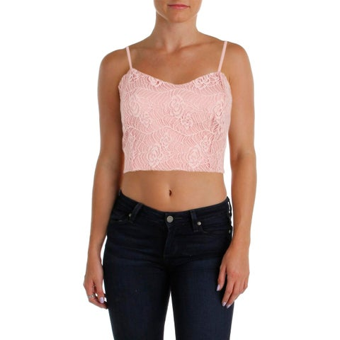 Aqua Womens Crop Top Lace Front Sweetheart Neck