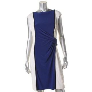Lauren Ralph Lauren Womens Casual Dress Ruched Cap Sleeves