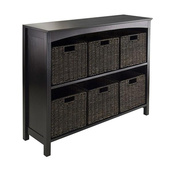 Espresso 3 Tier Bookcase Shelf Dresser with 6 Storage Baskets