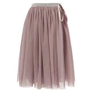 Richie House Little Girls Purple Silver Tulle Ribbon Skirt 3-6