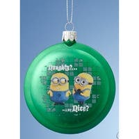 "3.5"" Despicable Me Green Minions ""Naughty? Nice?"" and ""Naughty!"" Disc Christmas Ornament"