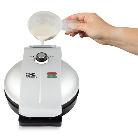 Kalorik Easy Pour Waffle Maker - Mess Free, No Spill Sloped Design Appliance for Even Cooking - Measuring Cup Included