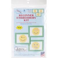 "Stamped Embroidery Kit Beginner Samplers 6""X8"" 3/Pkg-Smiling Faces"