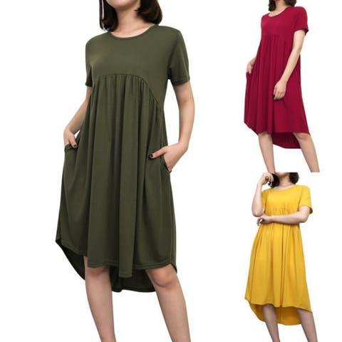 Women's Summer Short Sleeve High Low Pleated Swing Loose Casual Midi Dress