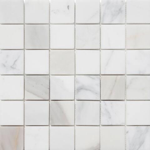 "Calacatta Marble 2"" x 2"" Honed Mosaic Tile (Box of 5 sheets/5 sqft)"