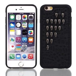 Unique Bargains Faux Leather Protector Shell Skin Case Cover Black for Apple iPhone 6 4.7