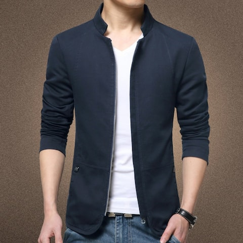 Men's Solid Color Bomber Jacket Autumn Casual Slim Fit Zipped Coat Outwear