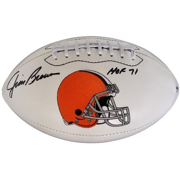 Jim Brown Signed Cleveland Browns Logo Football Inscribed HOF 71 PSA