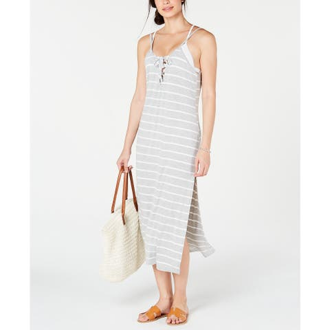 Miken Women's Striped Cover-Up Dress, Grey, L