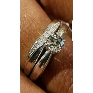 Platinaire Sterling Silver 1/2ct TDW Diamond Solitaire Bridal Ring Set