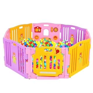 Costway Pink 8 Panel Baby Playpen Kids Safety Play Center Yard Home Indoor Outdoor Pen