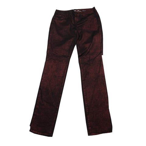 Inc International Concepts Wine Berry Metallic Skinny Jeans